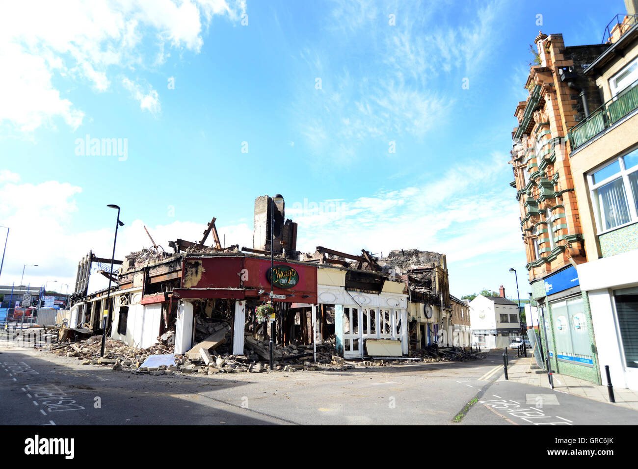 Former Barnsley nightclub Chicago Rock is demolished after it caught fire in August 2016. - Stock Image