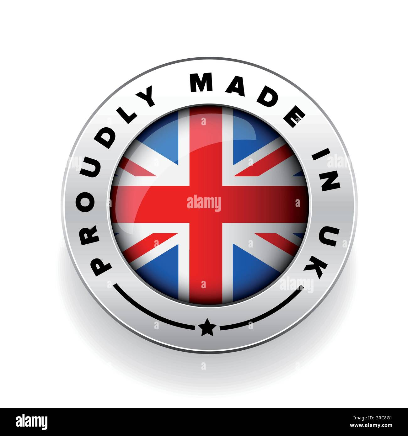 Proudly Made in The UK silver badge - Stock Vector