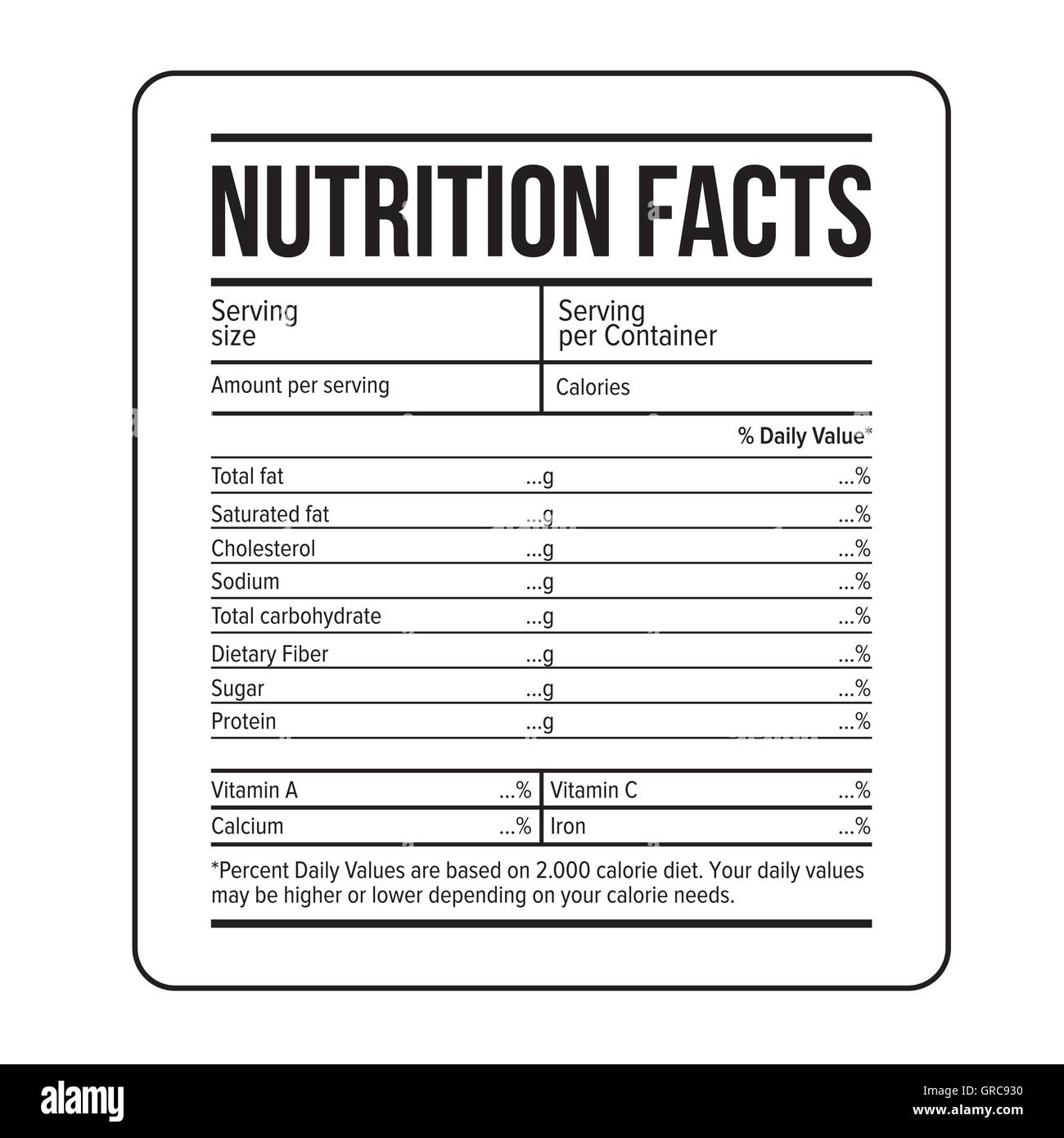 nutrition facts label black and white stock photos & images - alamy
