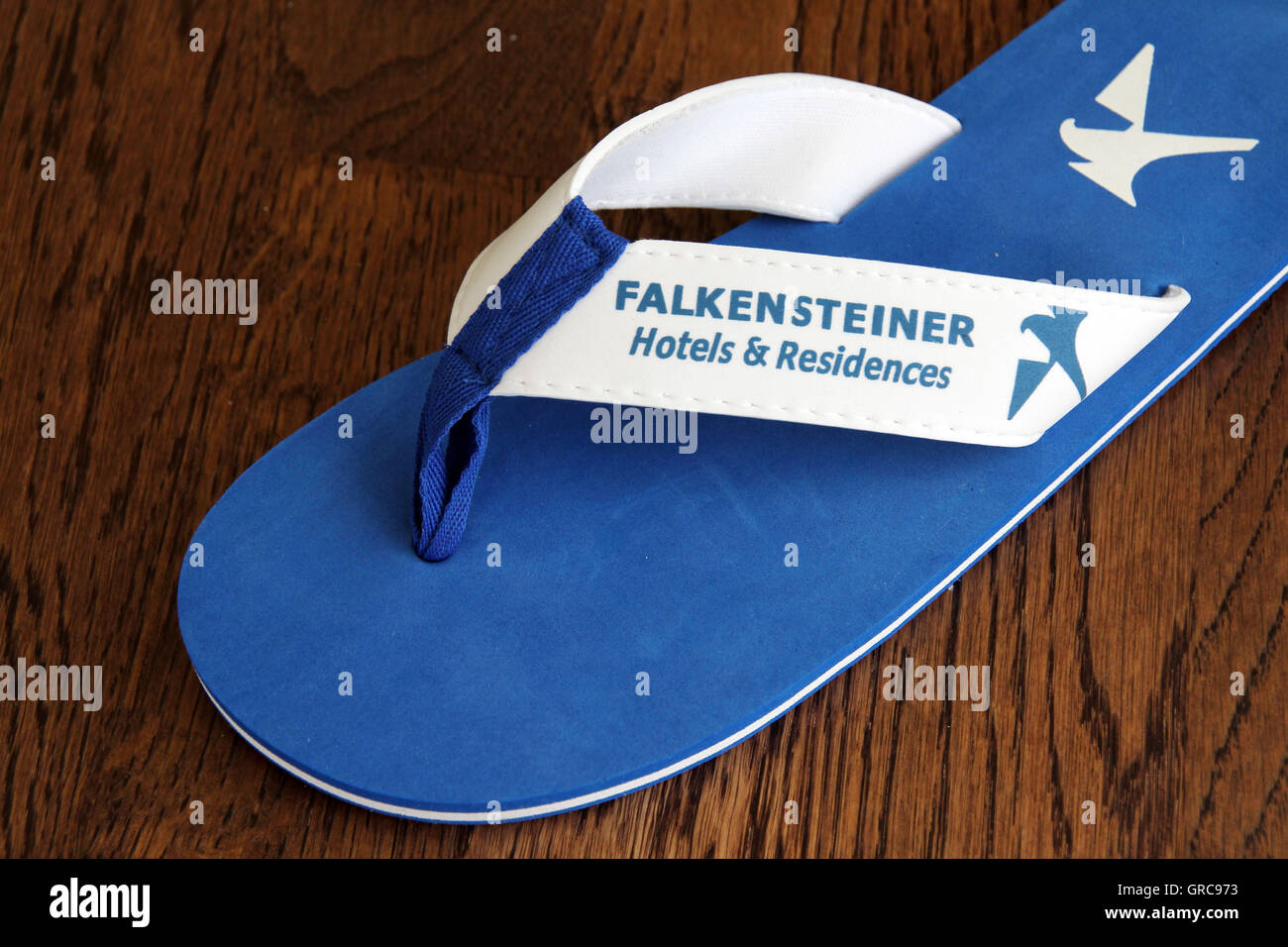 Flip Flop With Corporate Emblem Falkensteiner - Stock Image