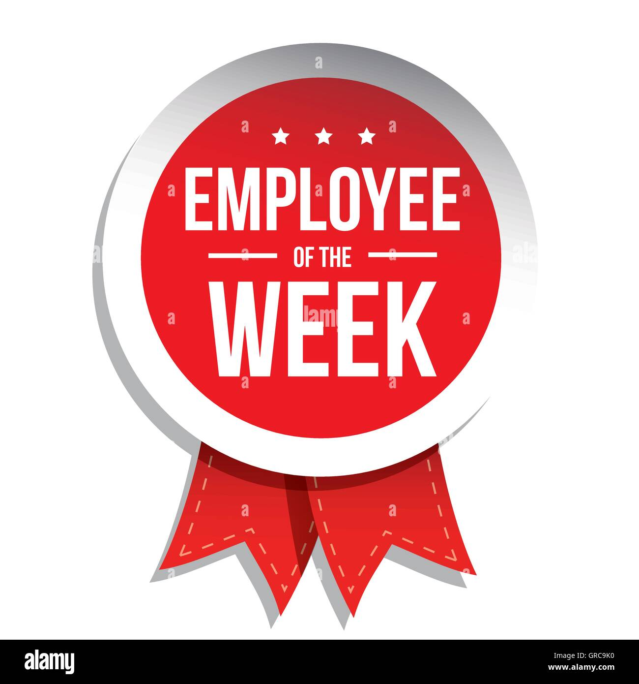 Employee Of The Week Label Or Stamp With Red Ribbon Stock
