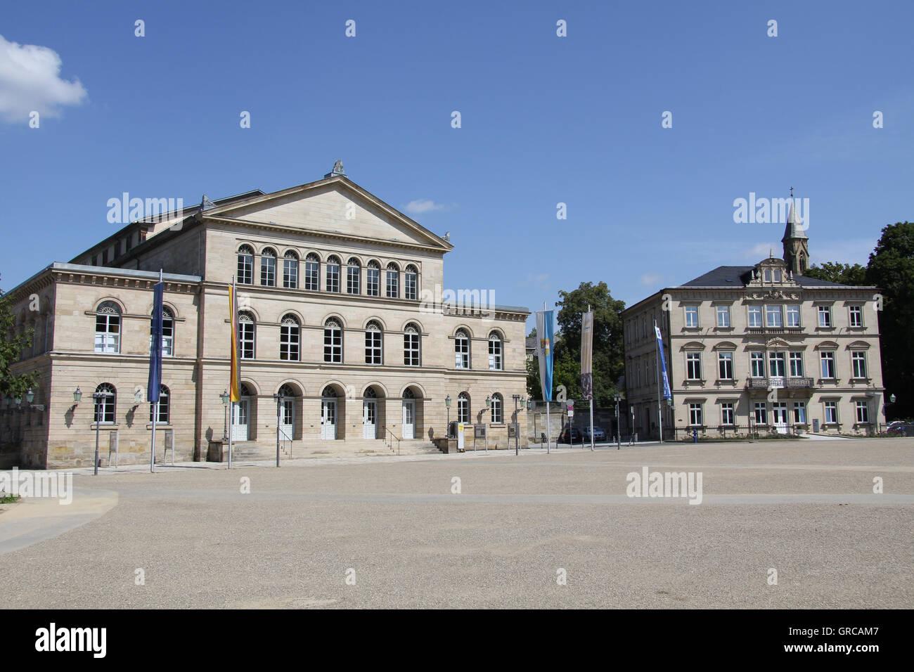 Schlossplatz Coburg With The Landestheater And Palais Edinburg, Upper Franconia, Bavaria, Germany, Europe - Stock Image