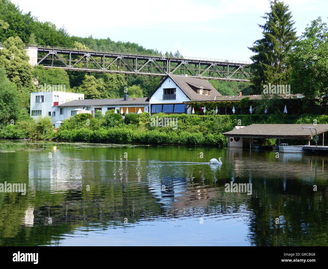 Romantical Eiswoog With Seahouse Forelle, Ramsen, Palatinate - Stock Image