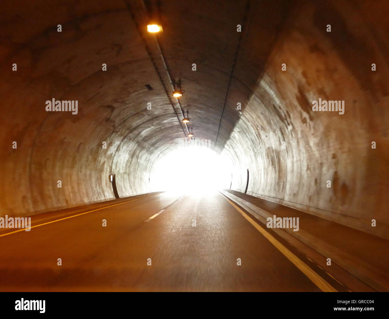Glare Light At The End Of The Tunnel, Symbol For Gleam Of Hope, Dying, Belief - Stock Image