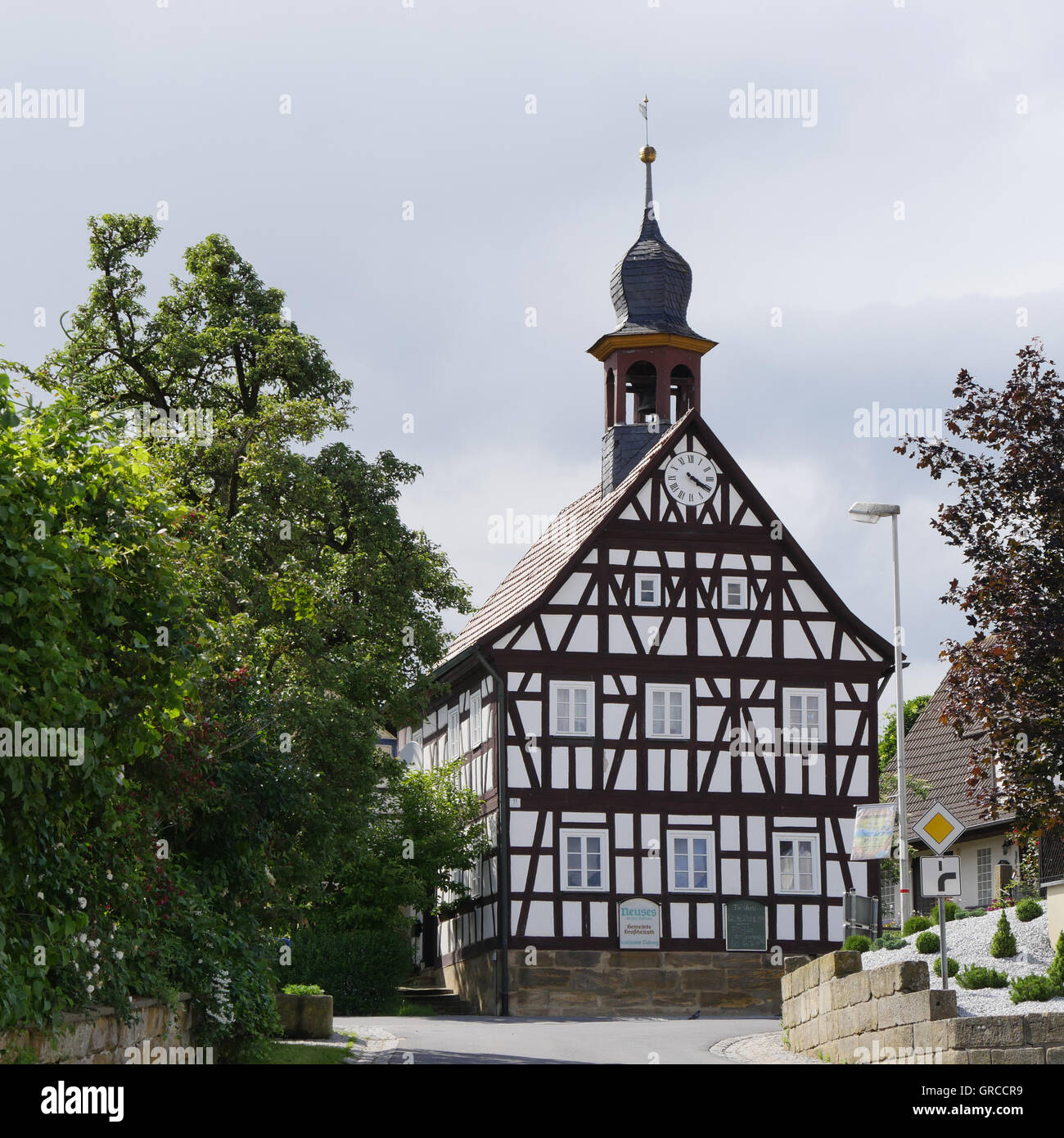 Old Town Hall In Neuses An Den Eichen, Grossheirath, Coburg County Stock Photo