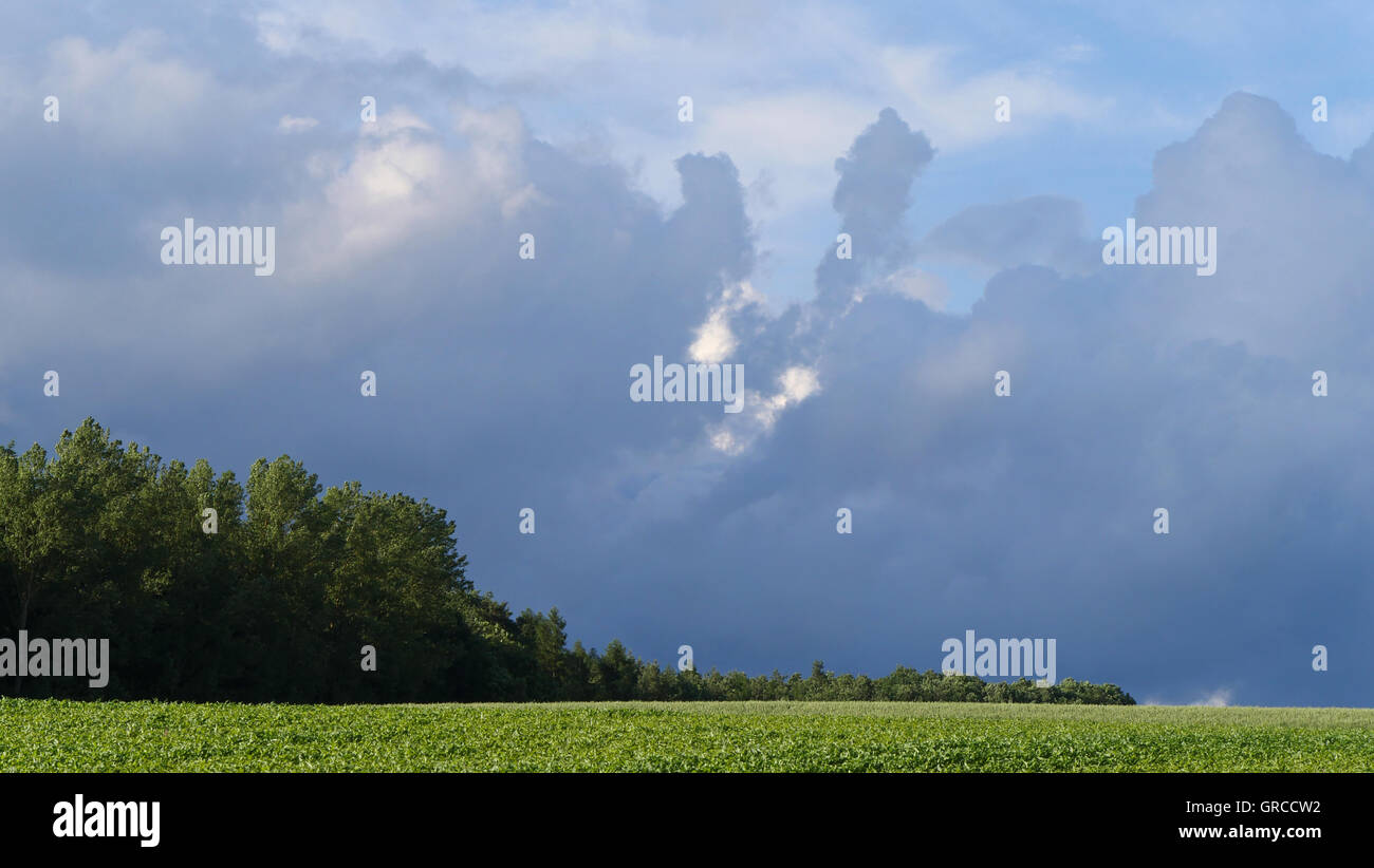 Enchanting Landscape In Upper Franconia, Coburg County, With Interesting Clouds Between Two Storms In Early Summer - Stock Image