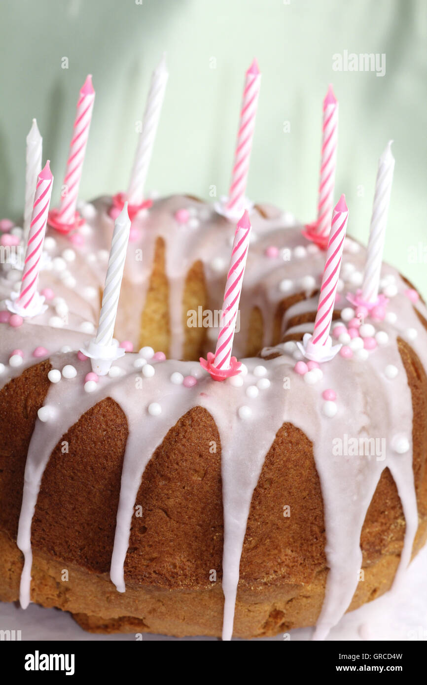 Birthday Cake With Pink Sugar Icing, The 10Th Birthday - Stock Image