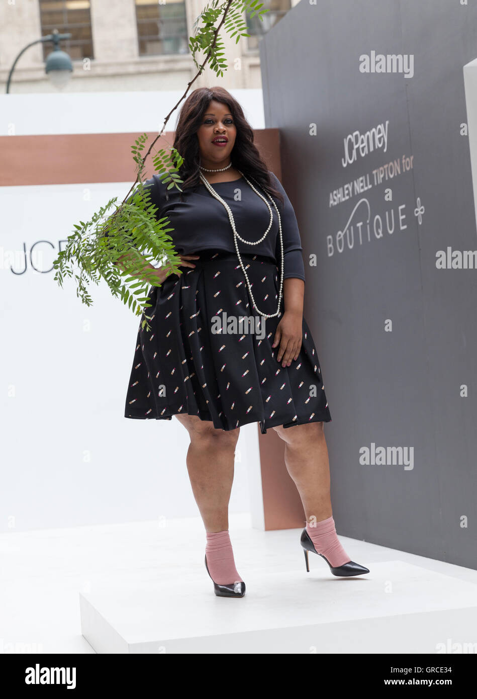 9ed945bf918 Model walks runway for women plus-size collection by Ashley Nell Tipton  presented by JCPenney during New York fashion week ss 2017 at Greeley Square