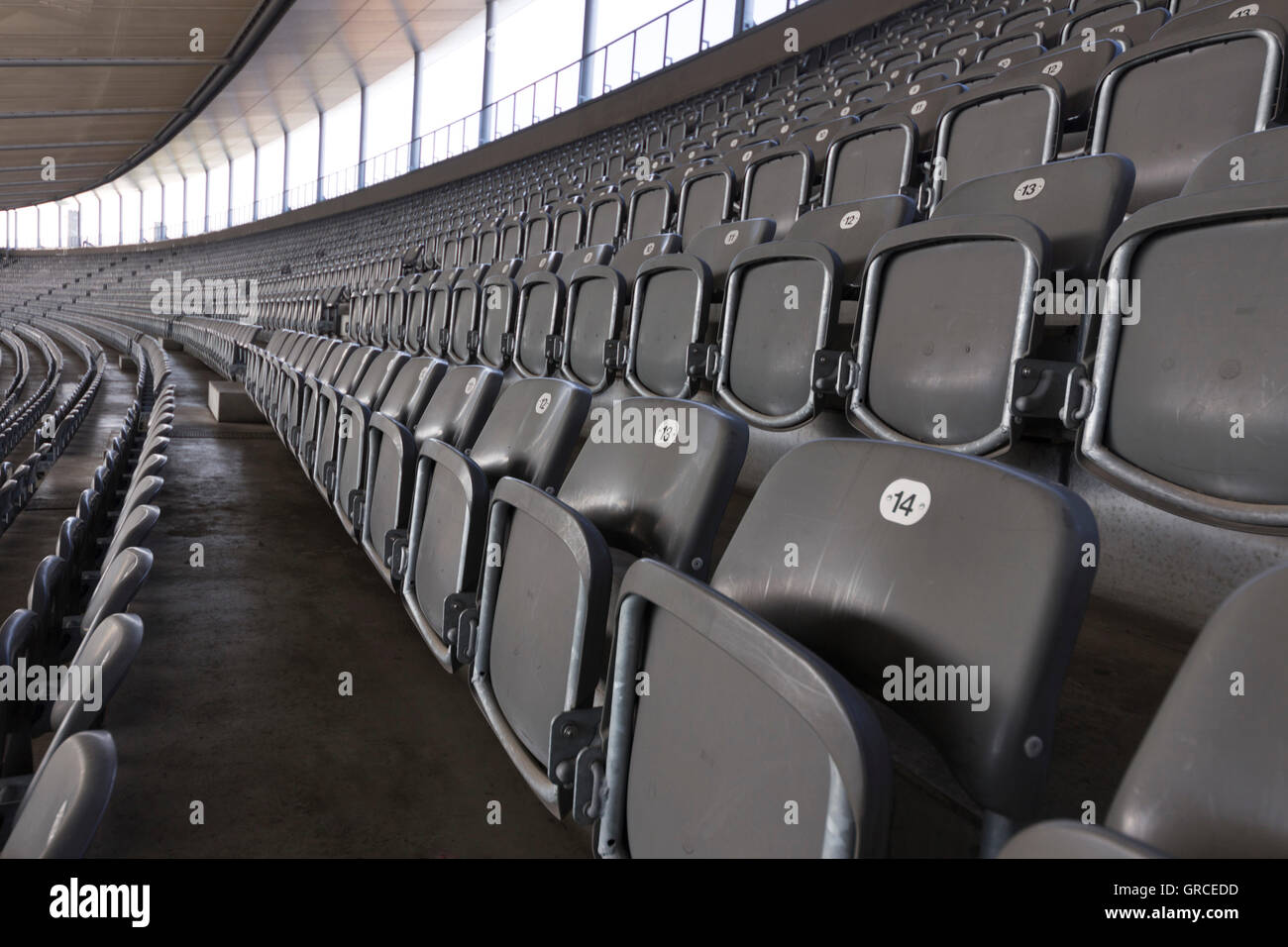 Rows Of Chairs In The Top Rank Of The Stadium - Stock Image