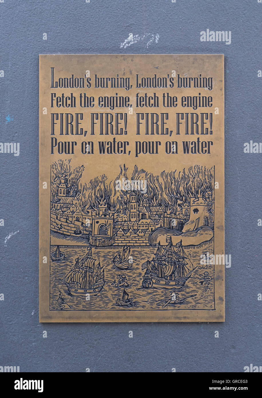 Plaque in the City of London, commemorates the Great Fire of London - Stock Image