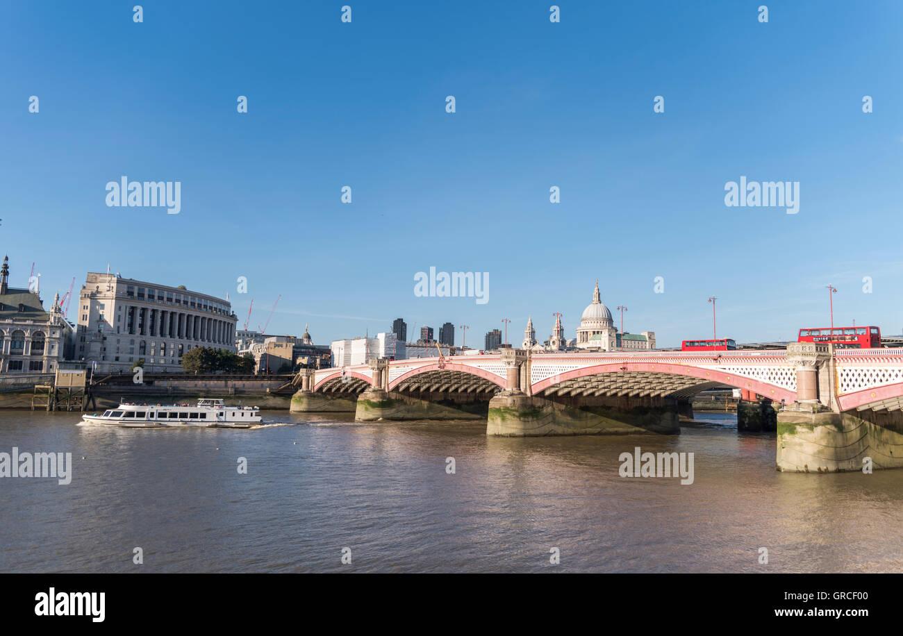 Blackfriars Bridge and the River Thames,  London, UK - Stock Image