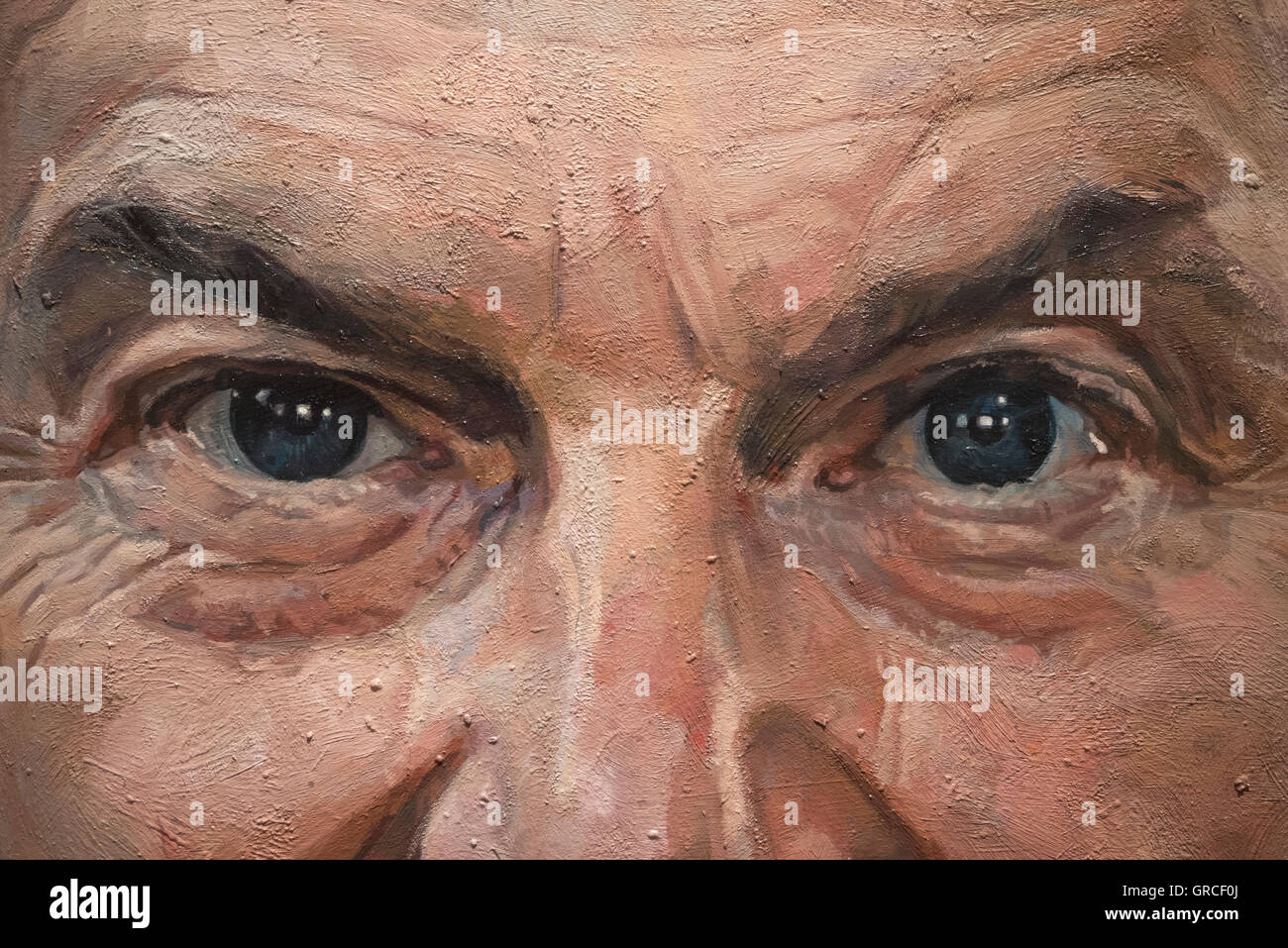 Eyes of Tony Blair former Prime Minister of the UK, part of oil painting by Alastair Adams, National Portrait Gallery, - Stock Image