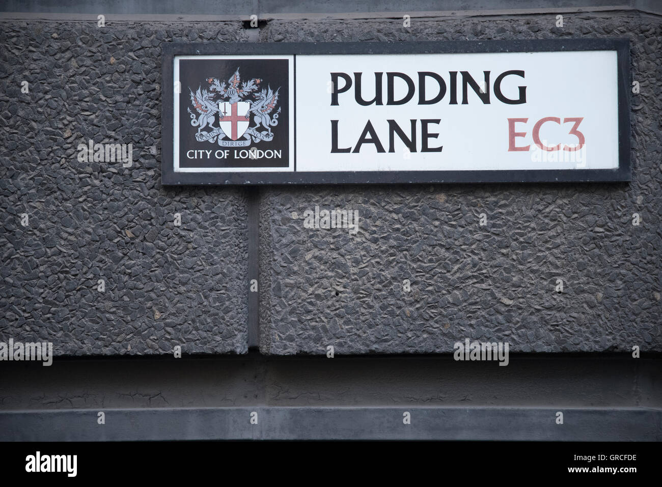 Pudding Lane, Street Marker, Site of the bakery that started the Great Fire of London. - Stock Image