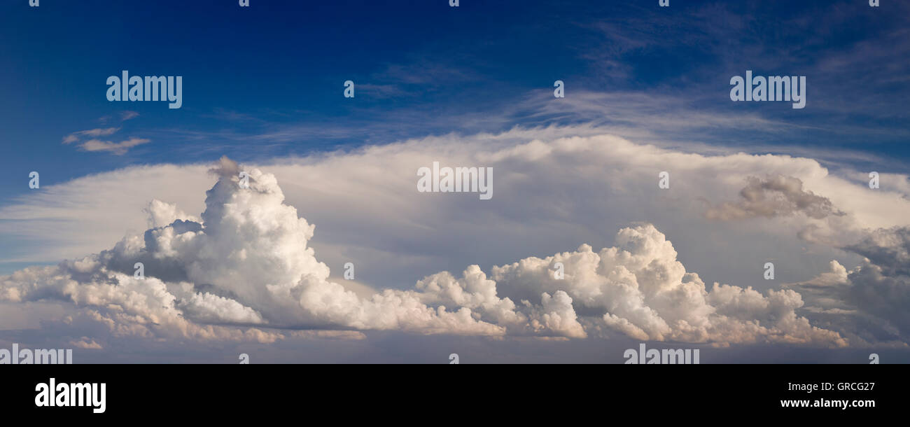 Overcast Summer Cloudscape Panorama Background - Stock Image