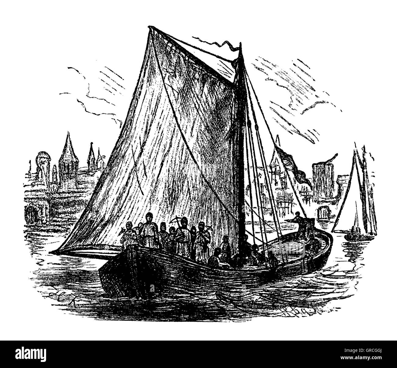 Reconstruction of a war vessel of the Rhenish Cities - Stock Image