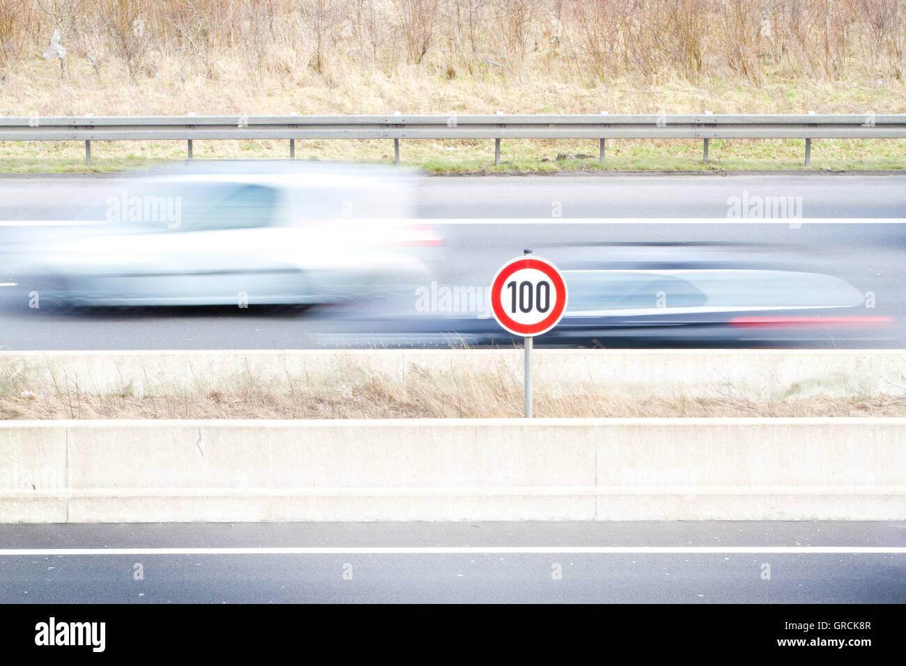 Motorway Speed Limit Motion Blur - Stock Image