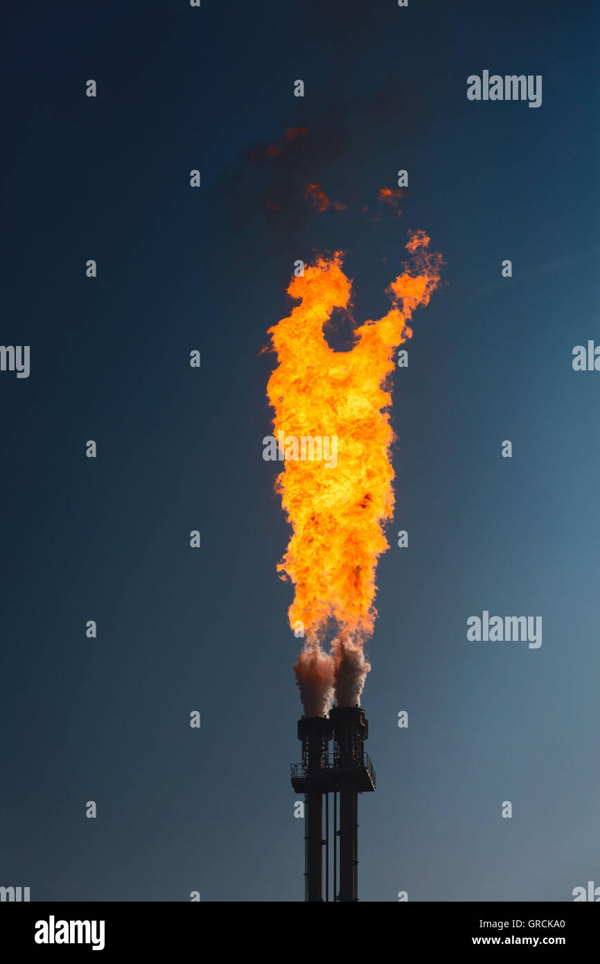 Gas Flame, Industry, Flaring - Stock Image