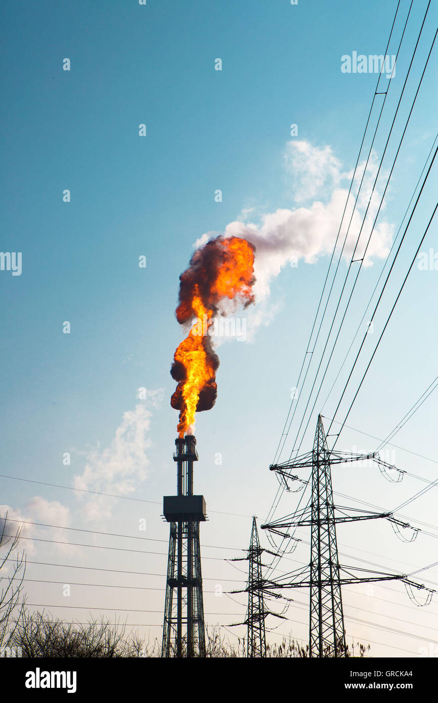 Industrial Gas Flaring - Stock Image