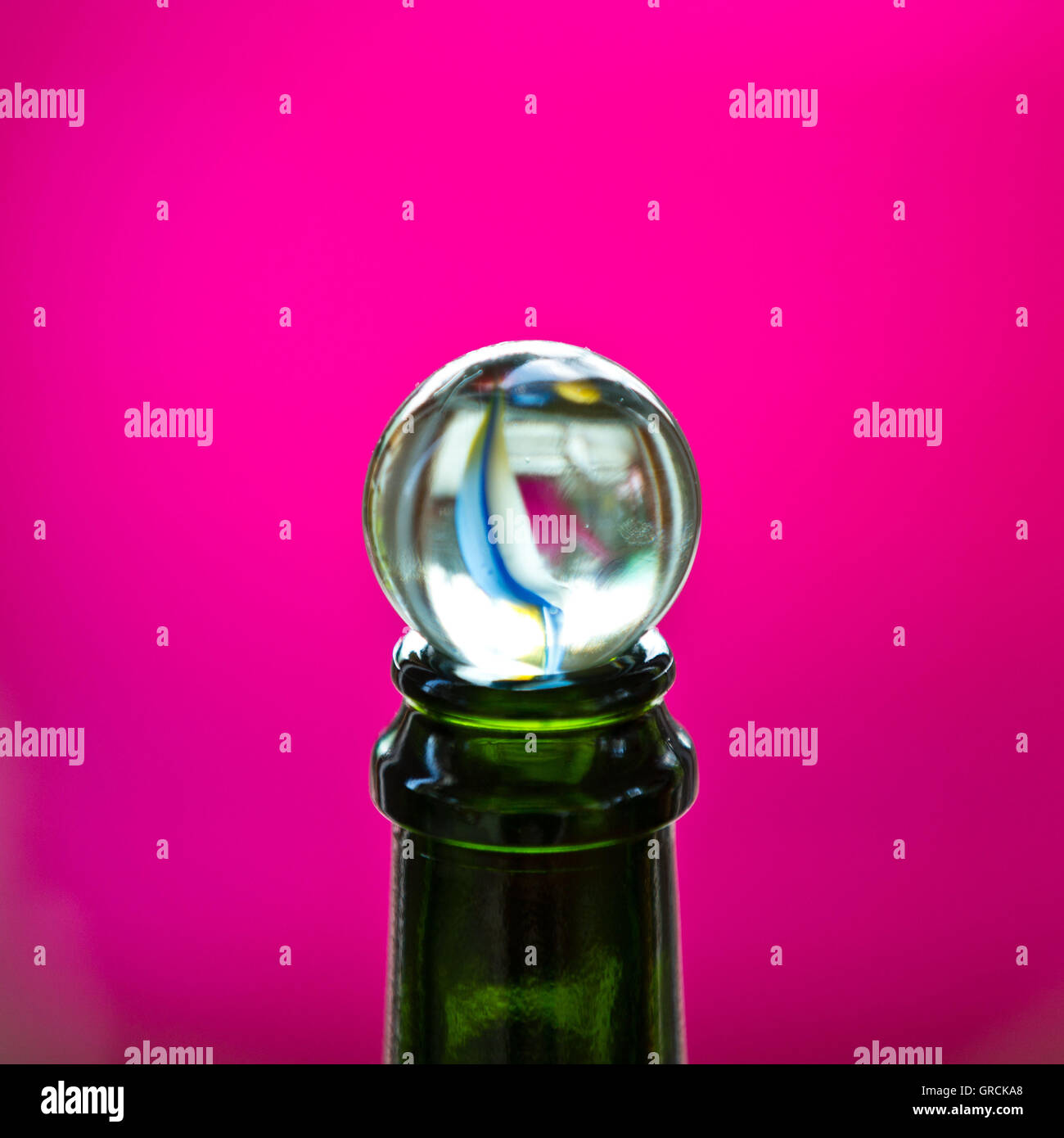 Glass Marble On Bottleneck - Stock Image