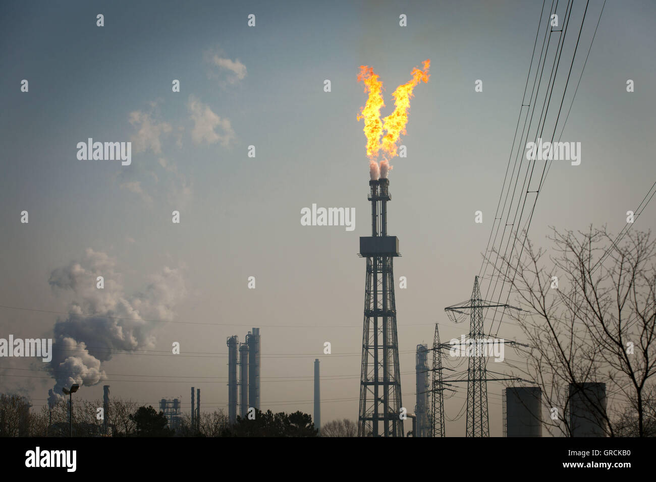 Industrial Gas Flaring, Accident, Wesseling, Nrw - Stock Image