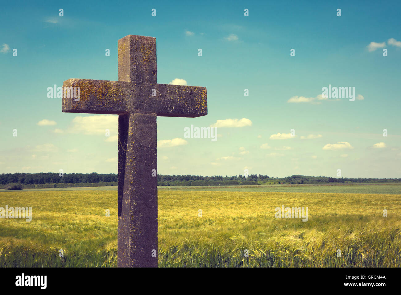 Stone Cross On The Sidelines - Stock Image