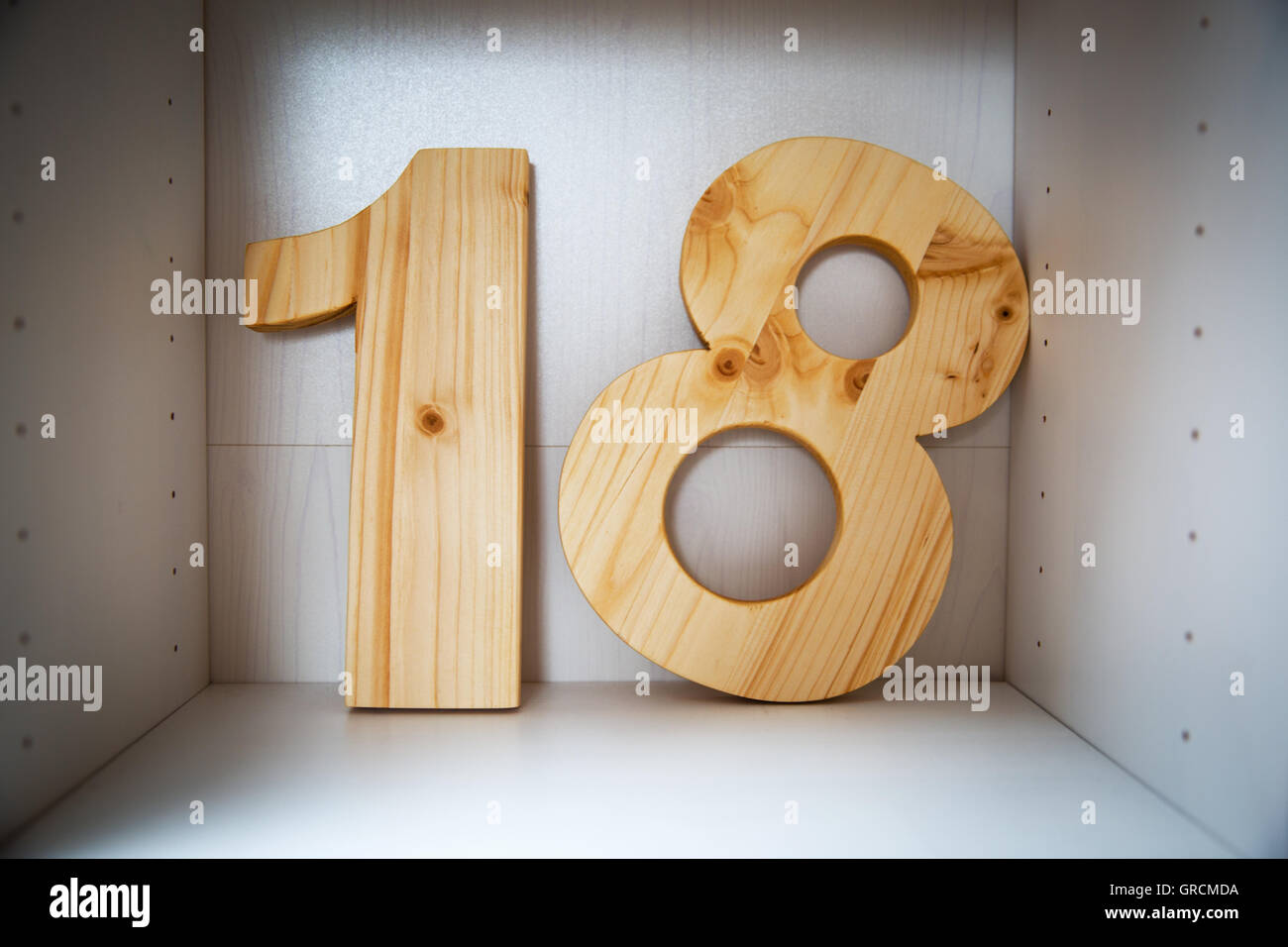 18, Number Of Wood - Stock Image
