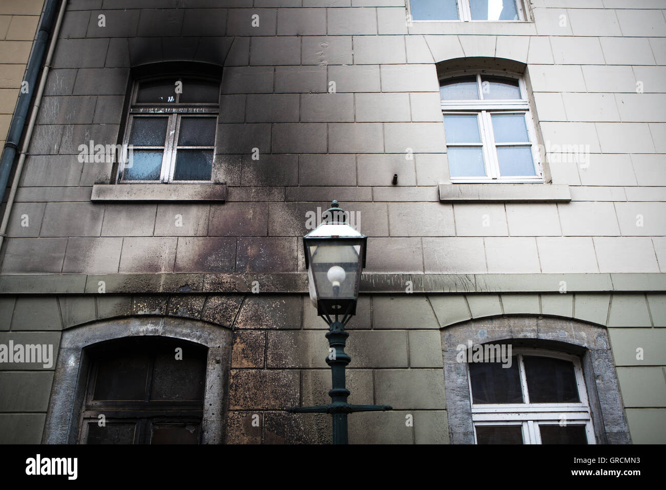 Contaminated Facade Soot After A Fire - Stock Image