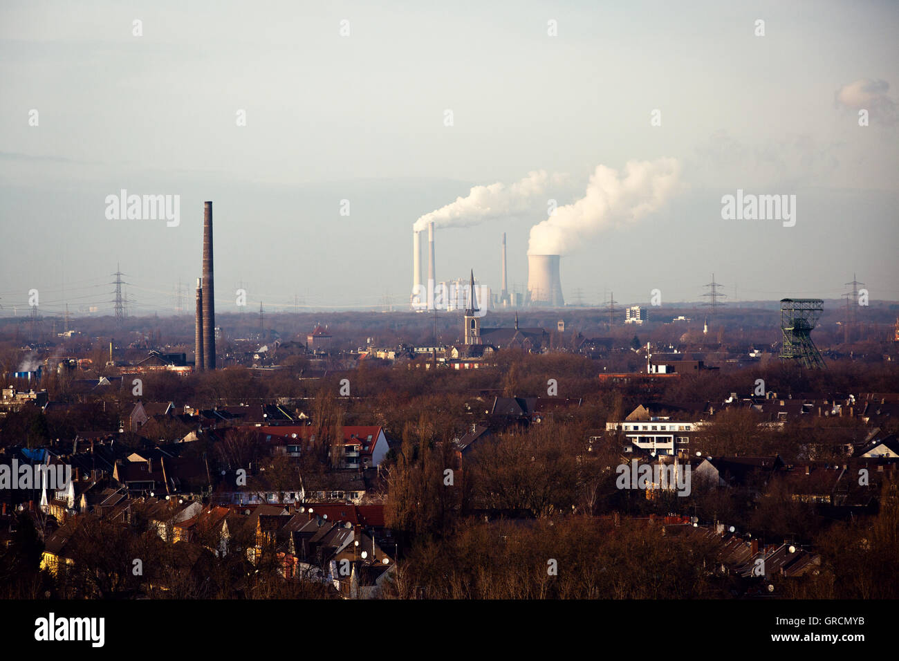 View Of Duisburg, Duisburg Marxloh, Industry, Ruhr Region - Stock Image