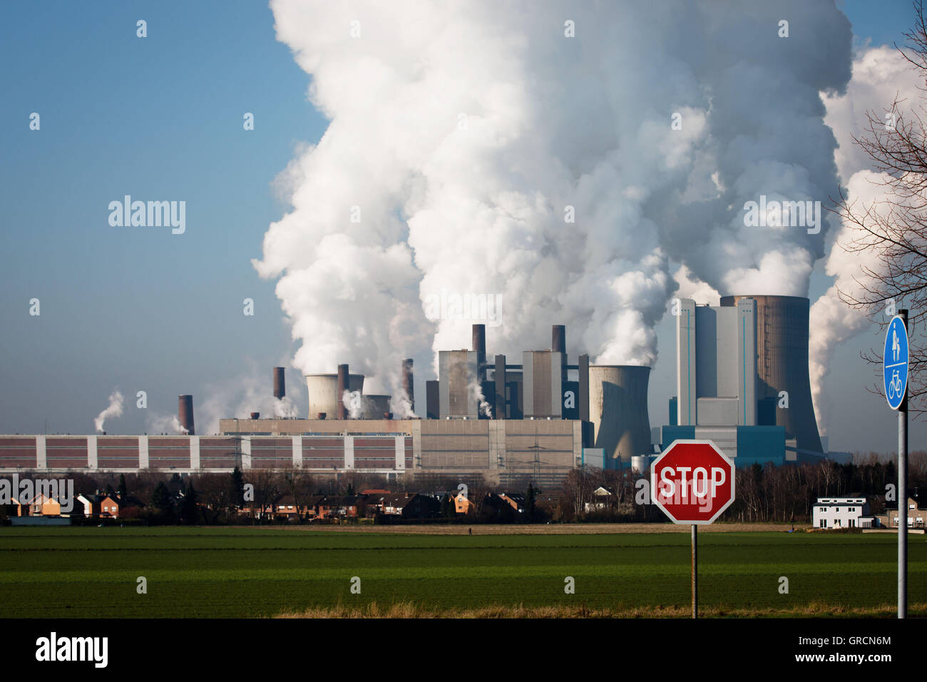 Outdated Coal Plant Niederaußem With Stop Sign - Stock Image