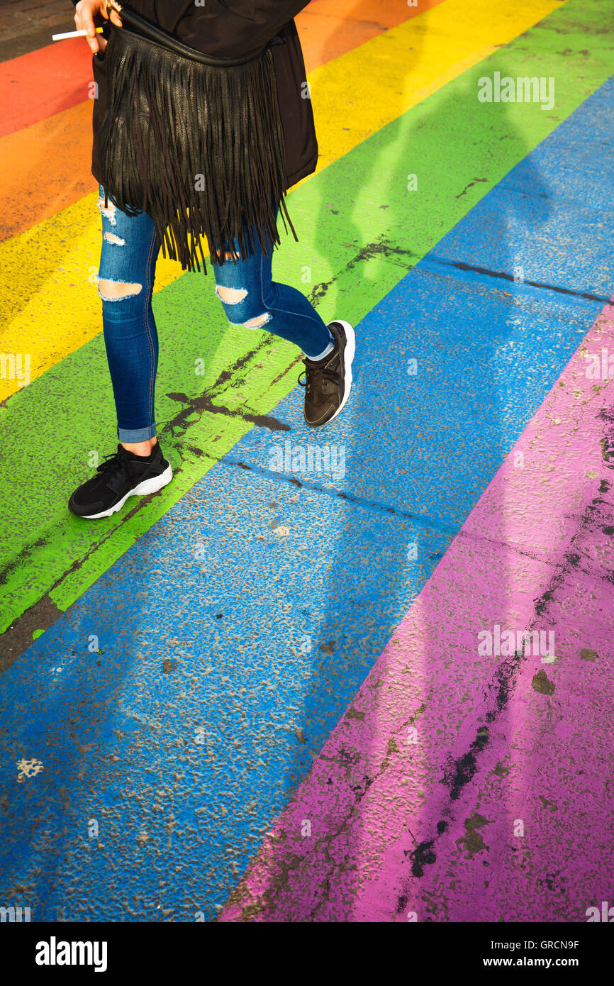 Pavement In Rainbow Colors - Stock Image