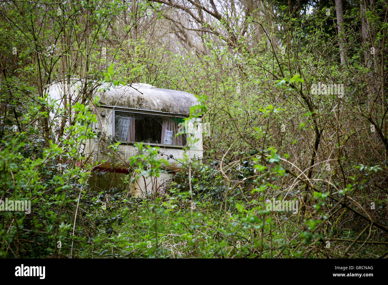 Left Behind Caravans, Lost Place - Stock Image