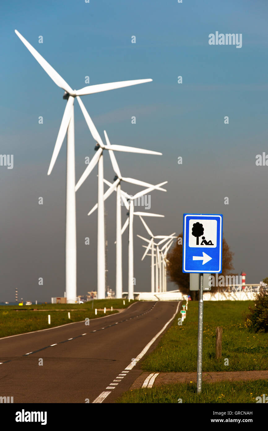 Wind Farm Along The Road, Recreational Area - Stock Image