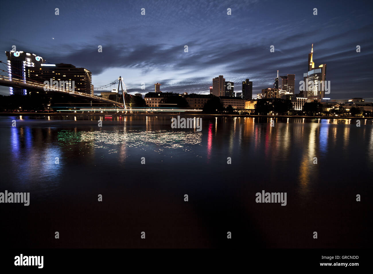Skyline Frankfurt With Holbeinsteg At Night,Longtime Exposure - Stock Image