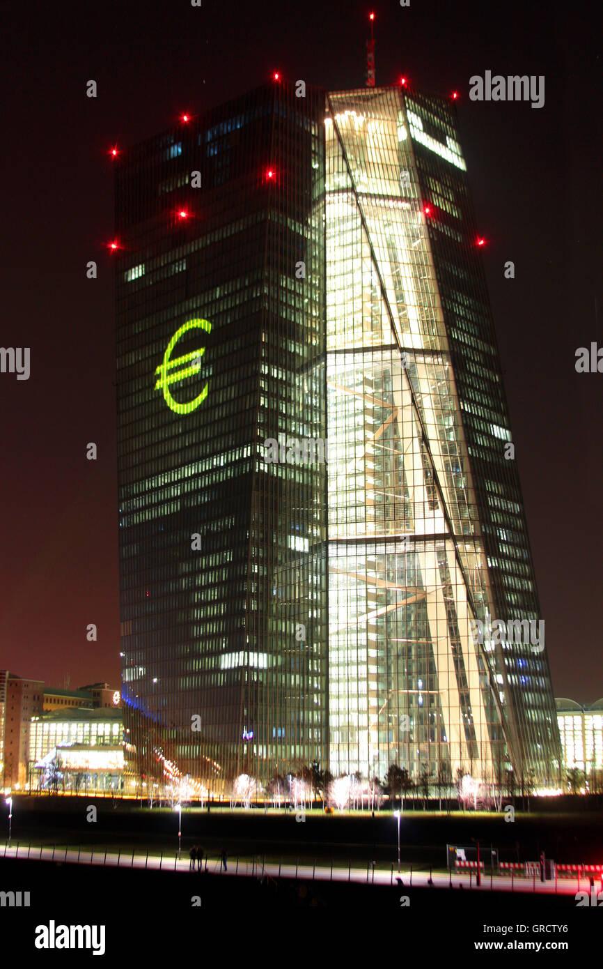 With Euro Sign Illuminated Ecb During Light Festival Luminale At Frankfurt - Stock Image