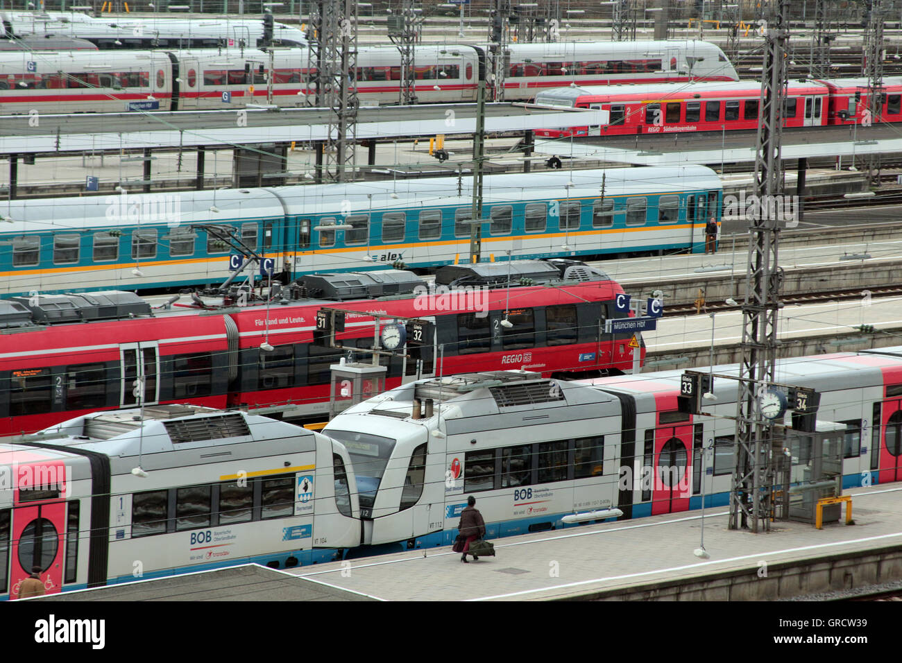 Regional Commuter Trains At Munich Central Railway Station - Stock Image
