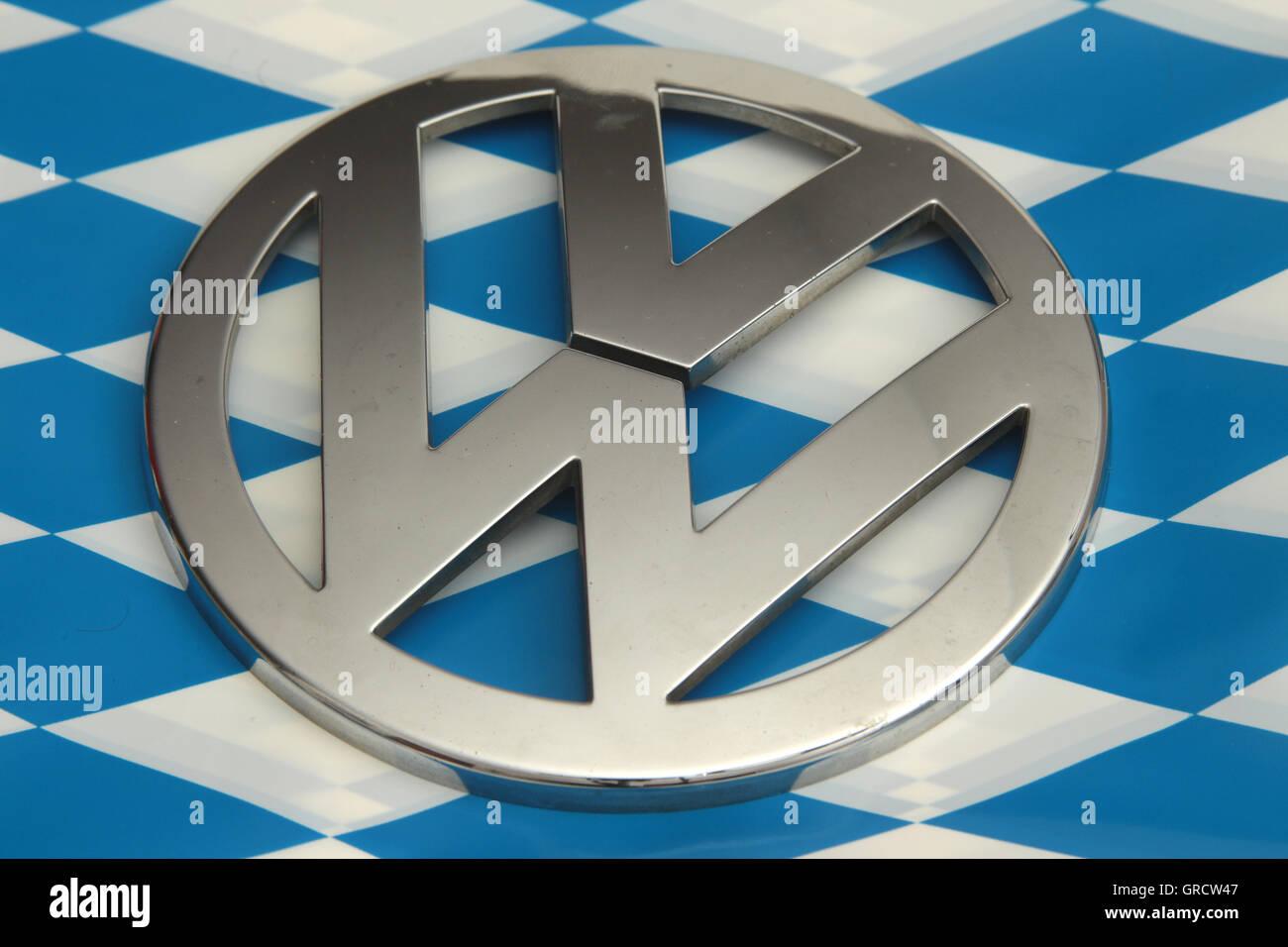 Vw Emblem On Bavarian Flag - Stock Image