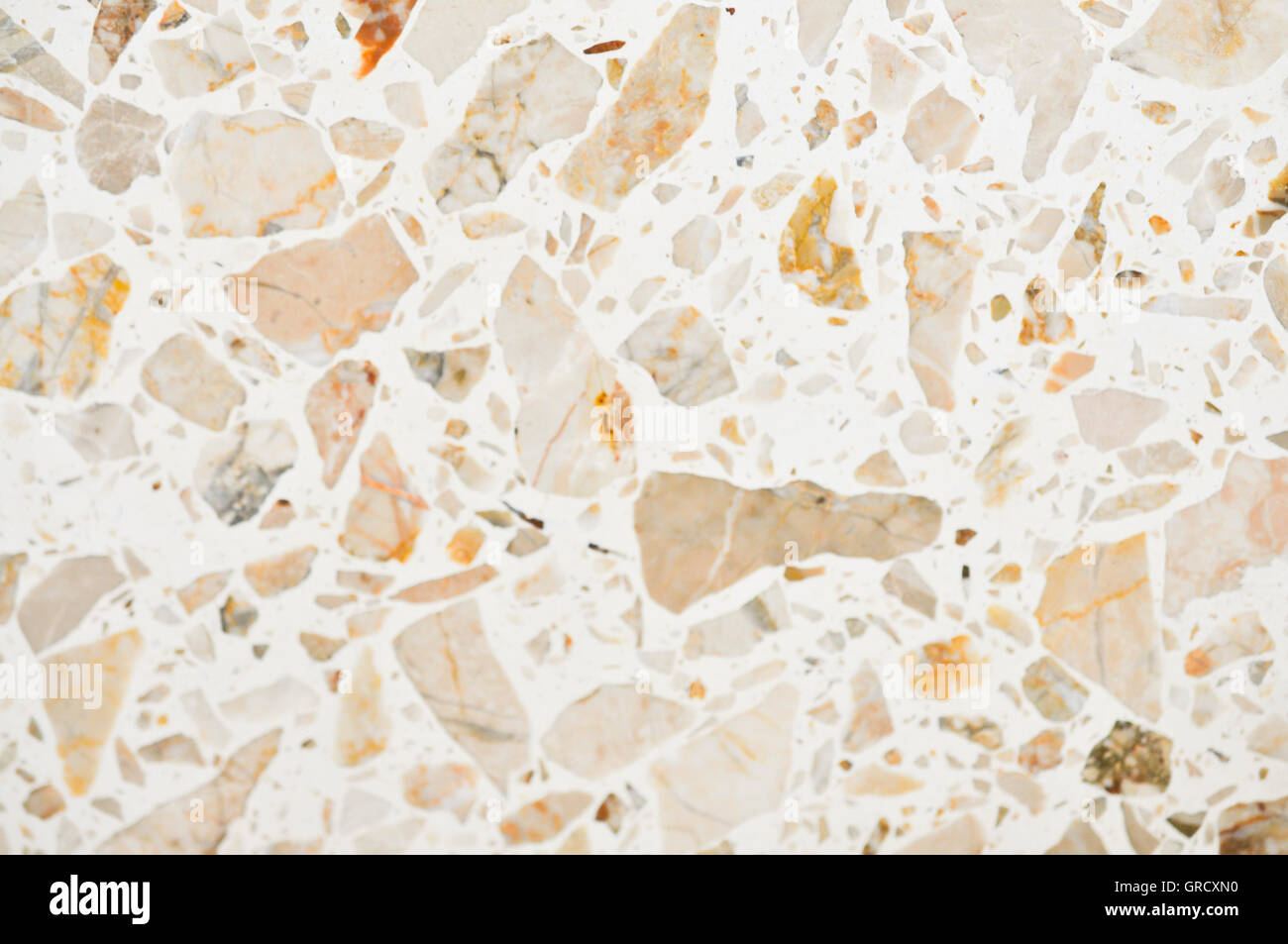 White Marble With Brown Stains - Stock Image