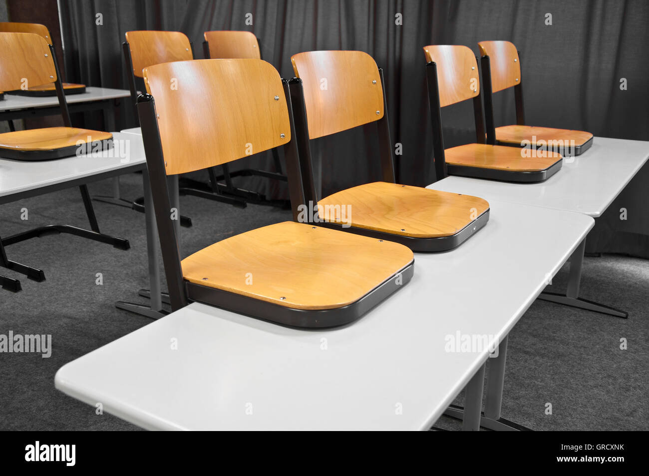 Chairs In A German Classroom - Stock Image