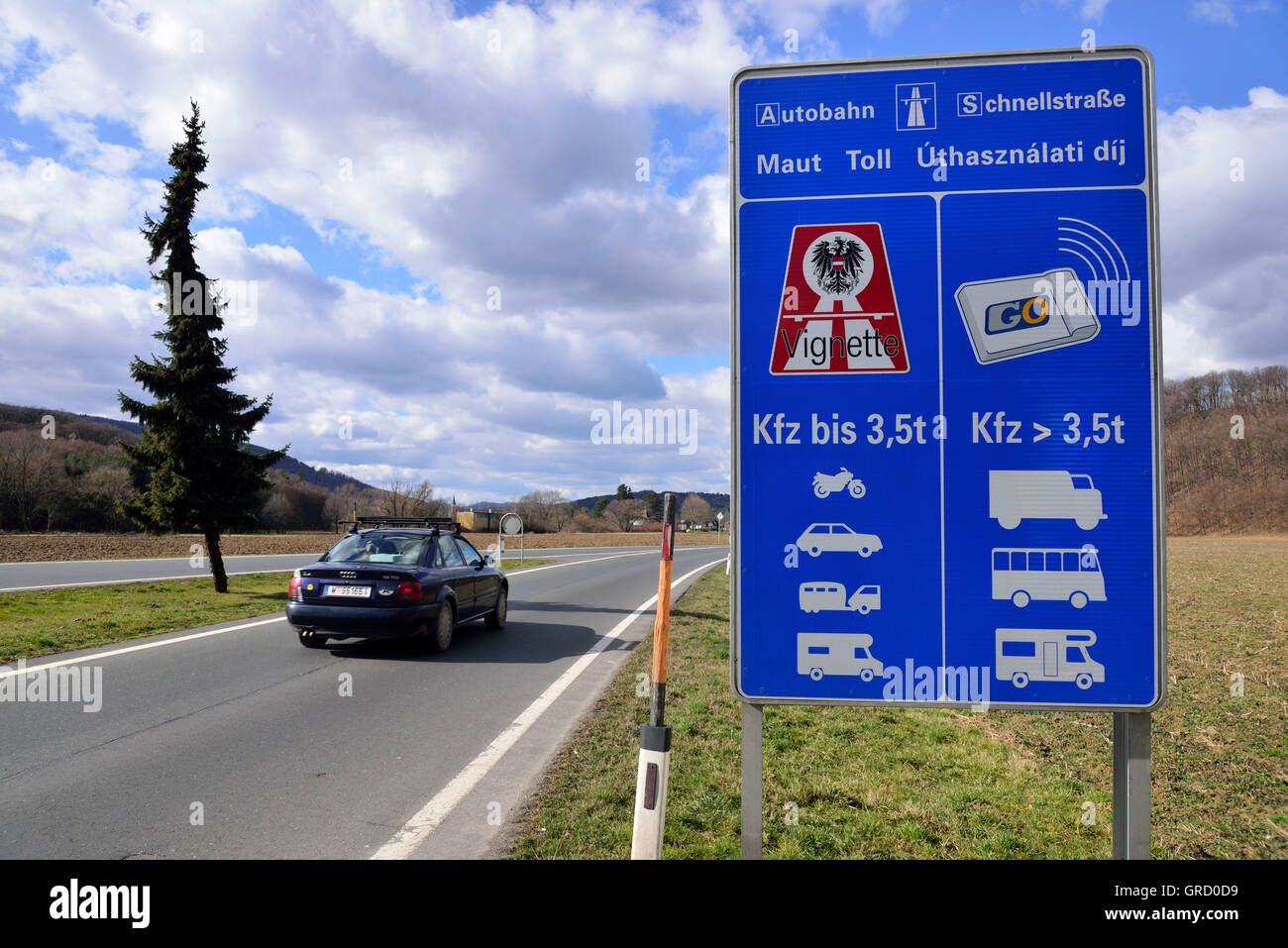 Sign Labeled With Informations Toll Instructions For Austria - Stock Image