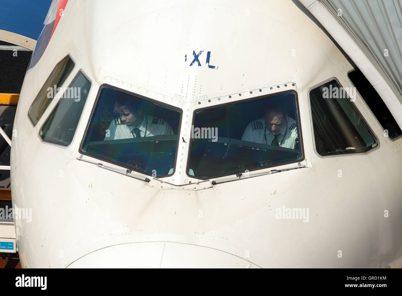 British Airways Airbus Flight Deck With First Officer And Pilot At Tegel Airport Berlin Stock Photo