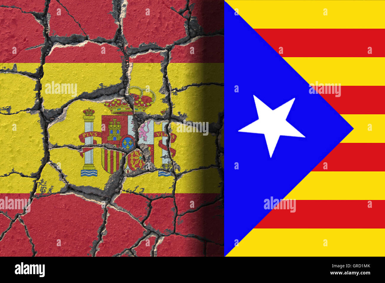 Eroding Flag Of Spain With Rising Estelada. The Spanish Unity Is Endangered By Separatism Of The Region Catalonia - Stock Image