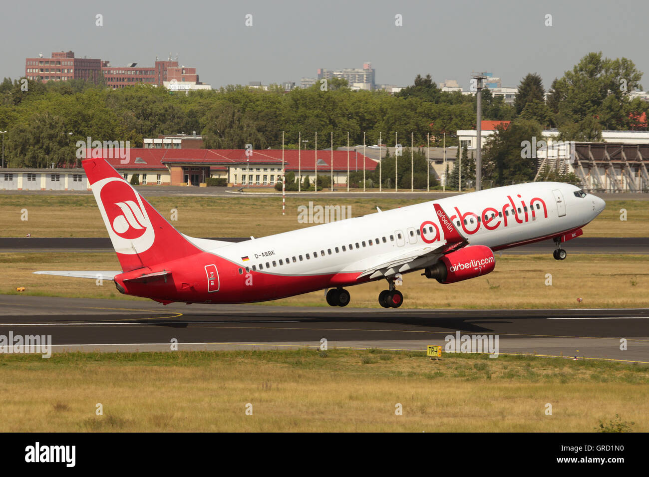 Boeing 737-800 Wirg Registration D-Abbk Of Airberlin Rotates At Tegel Airport Berlin - Stock Image