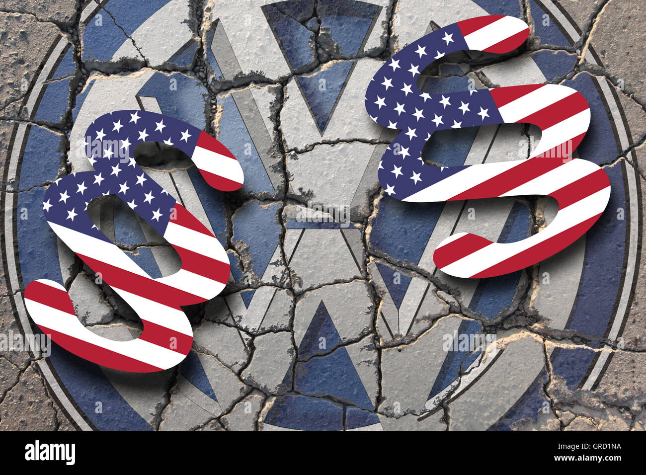 Crisis At Volkswagen Vw Sign On Eroding Road With Paragraph And Stars And Stripes - Stock Image