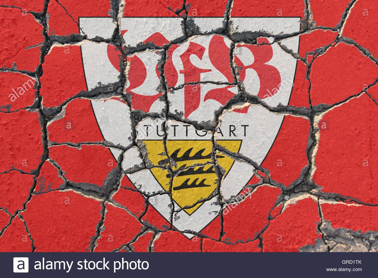 Sign Of Vfb Stuttgart On Eroding Pavement - Stock Image