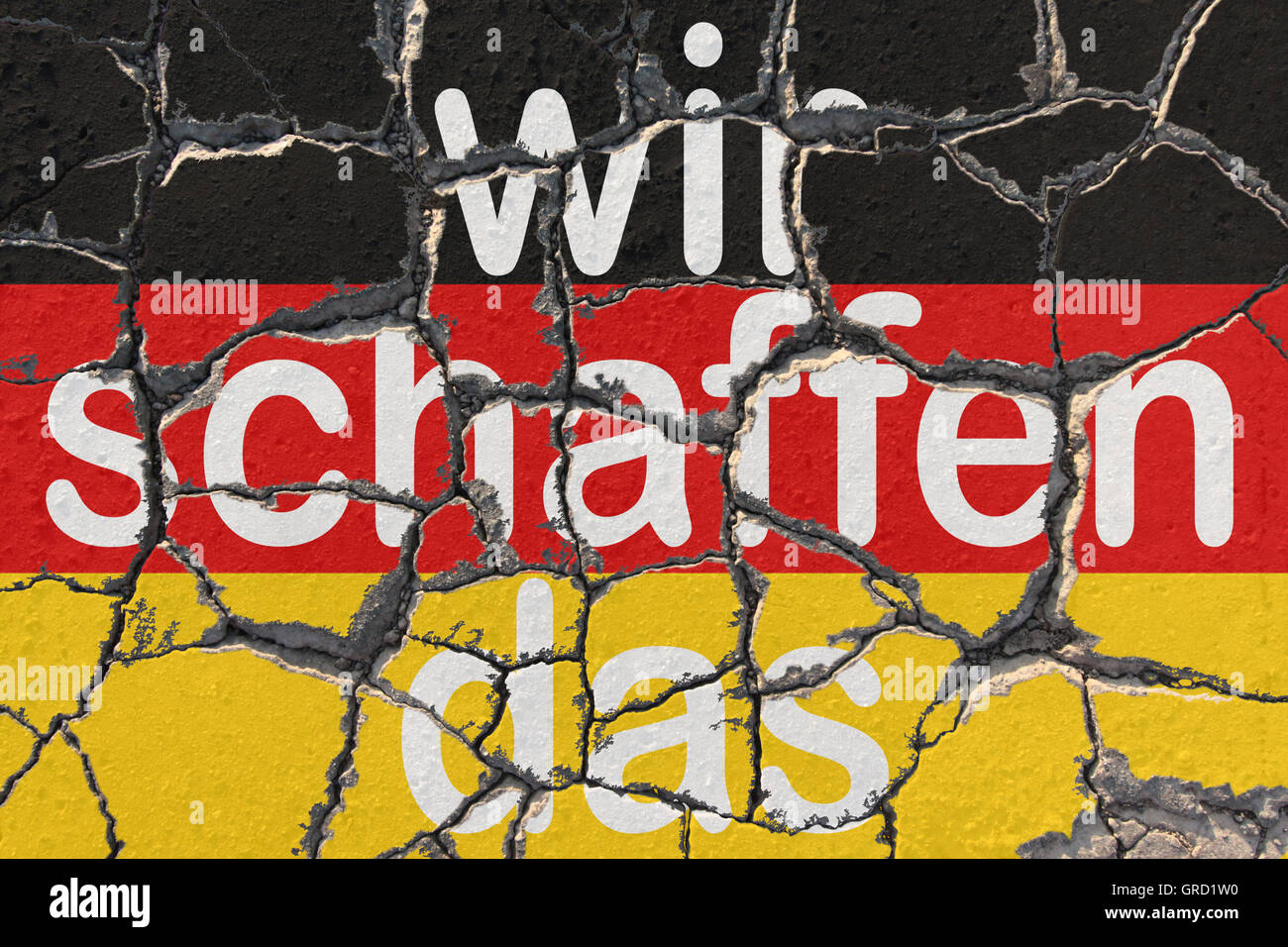German Flag With Words We Will Make It By Chancellor Angela Merkel In Regards Of Dealing With Asylum Stock Photo