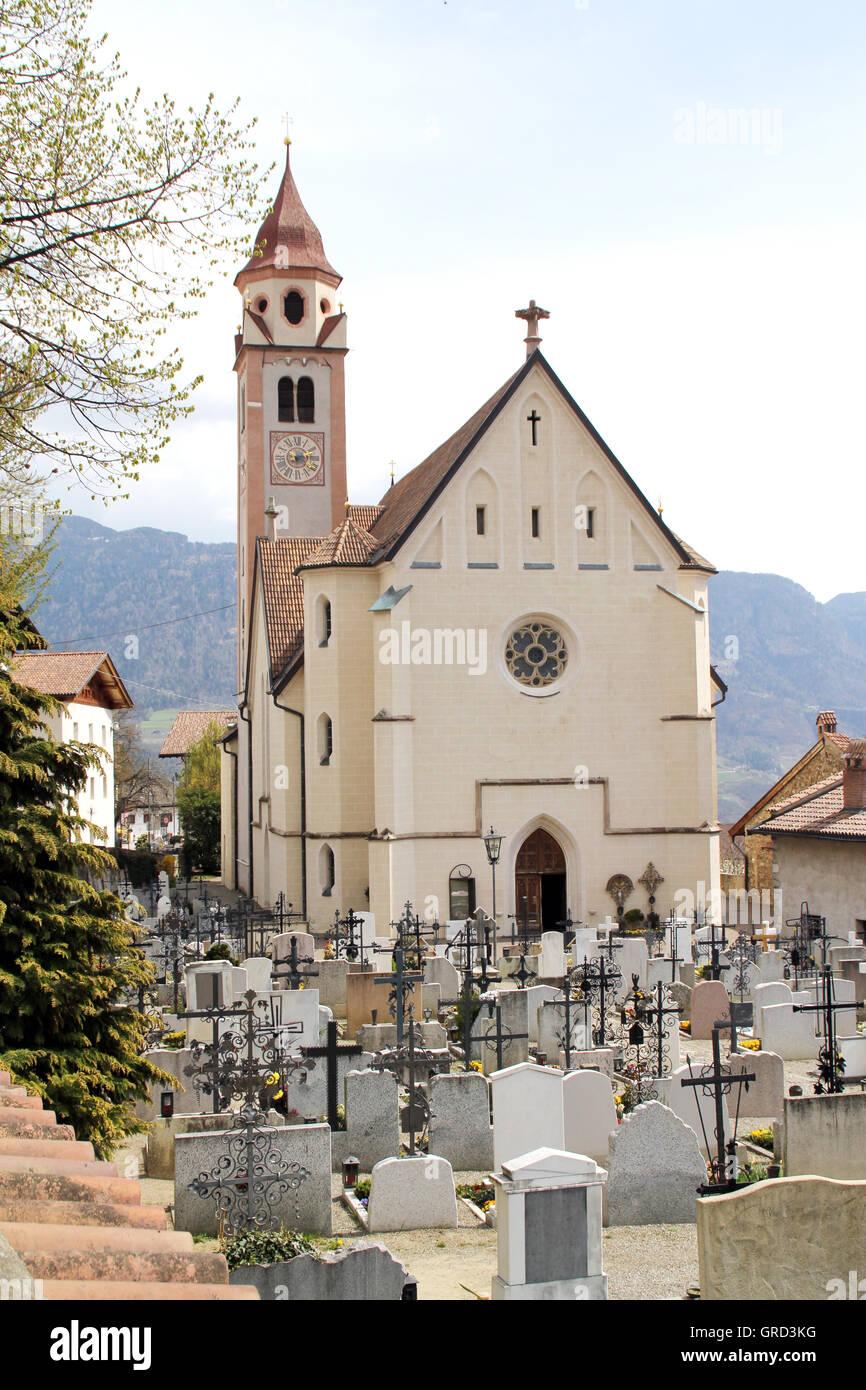 Cemetery At Dorf Tirol - Stock Image