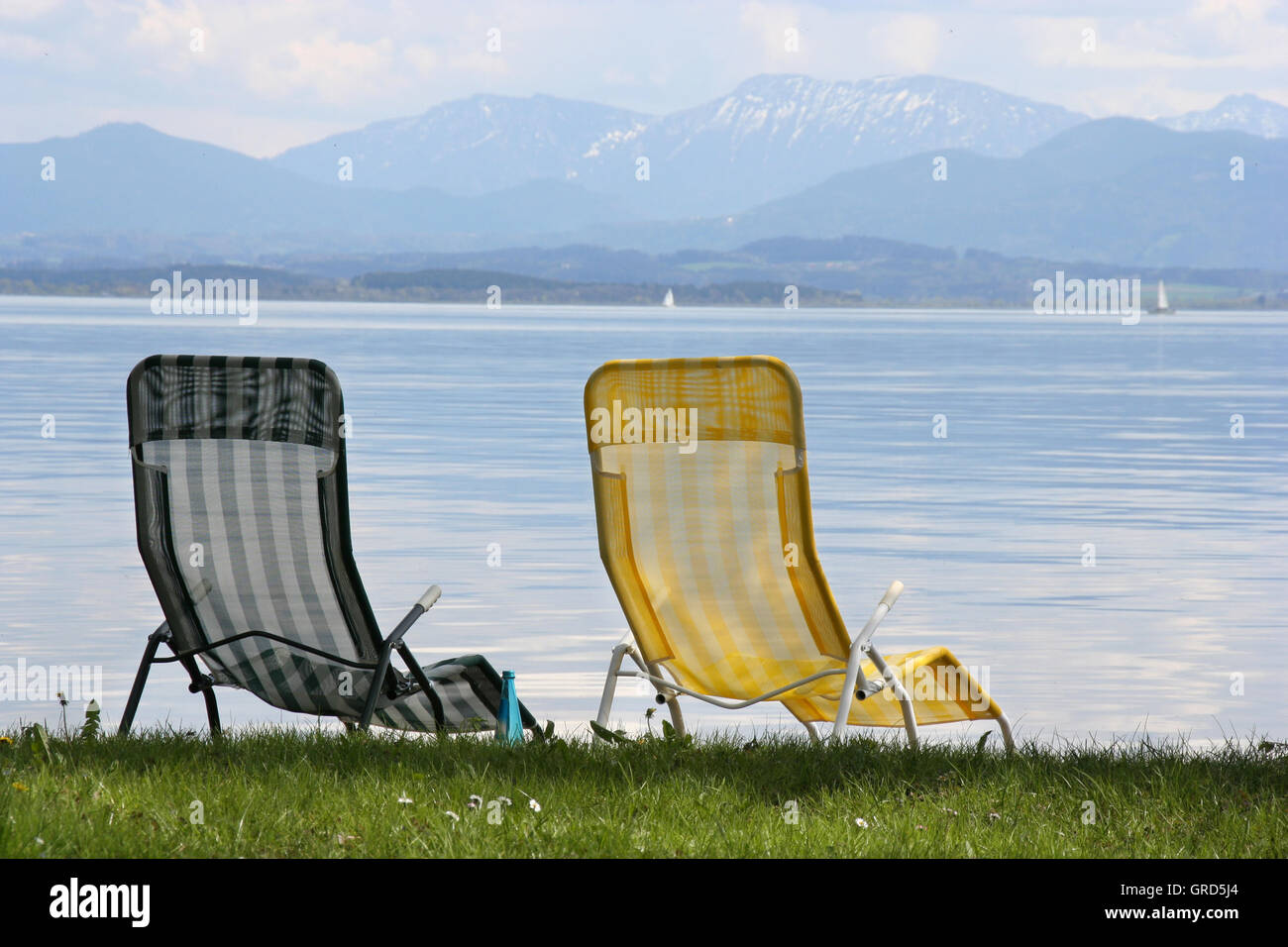 Two Unoccupied Beach Chairs - Stock Image