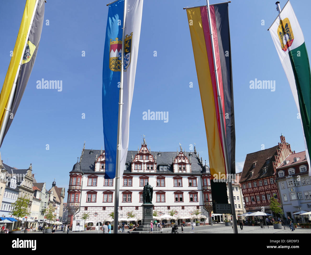 Coburg, Marketplace Flagged, Upper Franconia Stock Photo