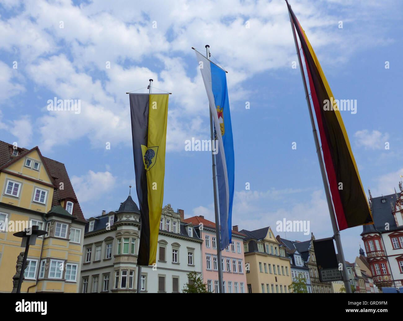 Coburg, Marketplace Flagged, Upper Franconia Stock Photo