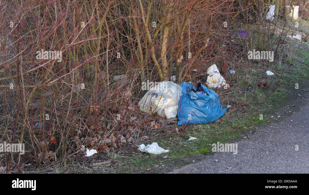 Wild Landfill, Waste Thrown Into The Landscape, Pollution - Stock Image